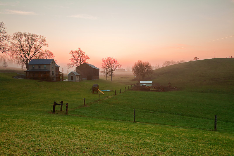 Pennsylvania, Morrison Cove, Spring Morning, Fog, Farmland, Landscape, 宾夕法尼亚 田园, 风景