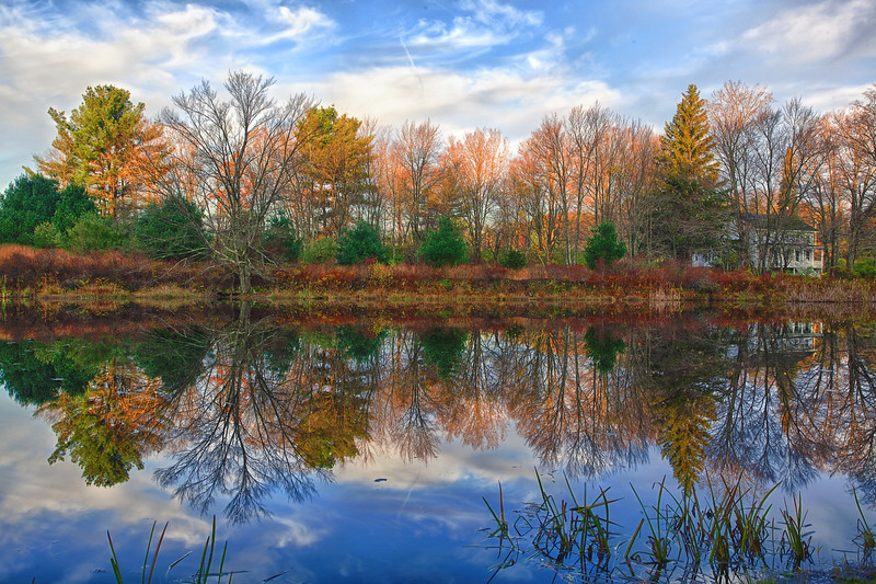 Pennsylvania, Farmland, Pond, Fall Colors, Reflection, HDR, Landscape, 宾夕法尼亚 田园, 风景