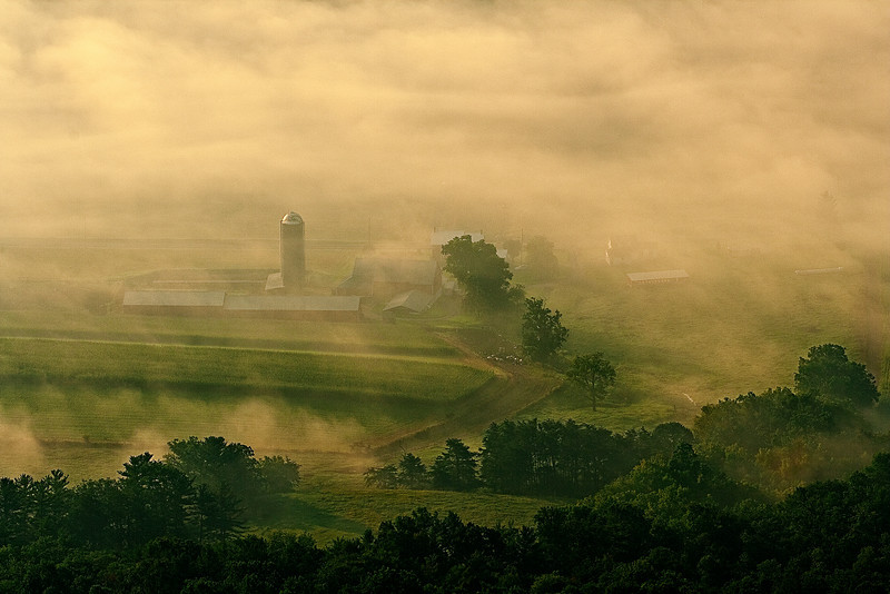Pennsylvania, Kishacoquillas Valley, Spring morning, Fog, Smoky Landscape, 宾夕法尼亚 田园, 风景