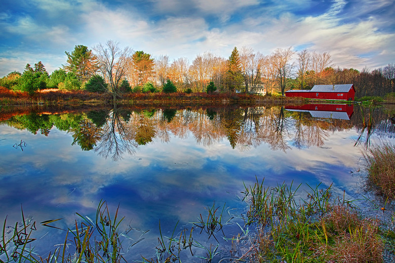 Pennsylvania, Farmland, Pond, Mill, Fall Colors, Reflection, HDR, Landscape, 宾夕法尼亚 田园, 风景