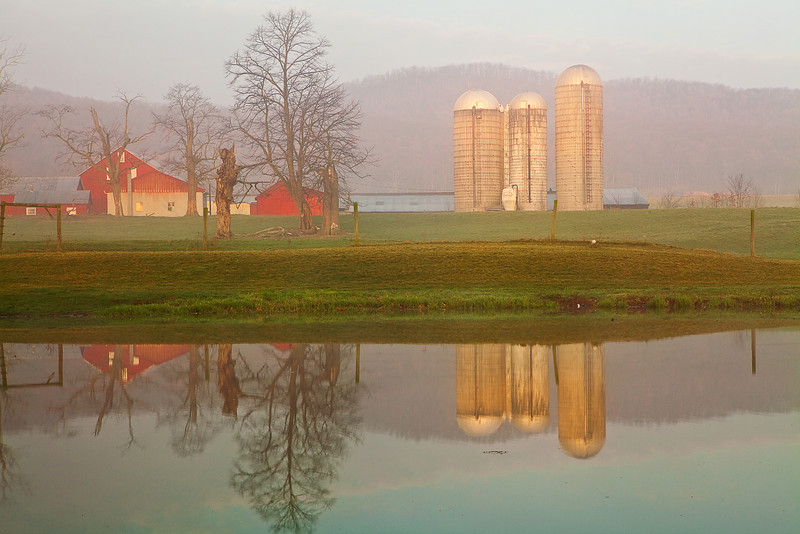 Pennsylvania, Morrison Cove, Spring Morning, Fog, Farmland, Landscape, 宾夕法尼亚 田园, 风景