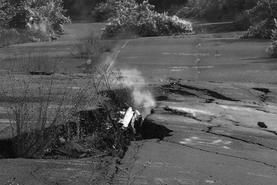 "Explore the town on fire.  Centralia, PA, now a ghost town and the inspiration for the video game series ""Silent Hill"".  Read the history @ http://goo.gl/KwWIvB"