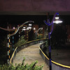 """the walkway from Paul Revere Park to Rutherford Ave. The pathway follows Miller's River and the Route1 on-ramp, it is lit by the """"Candy Cane"""" lights"""