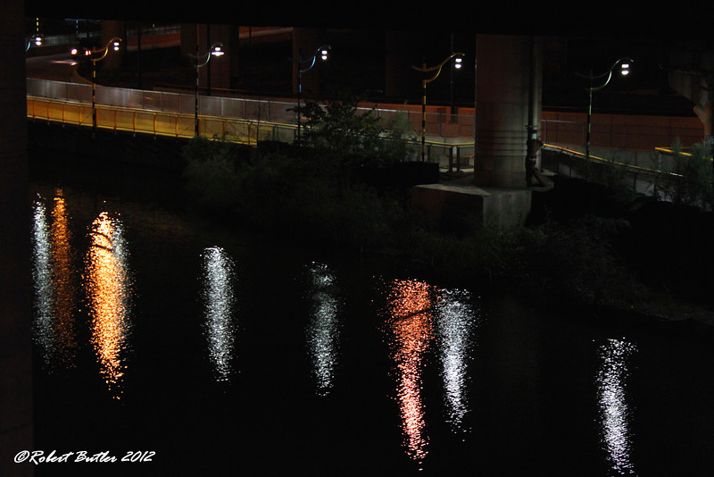 Candy Cane lights reflected in Miller's River