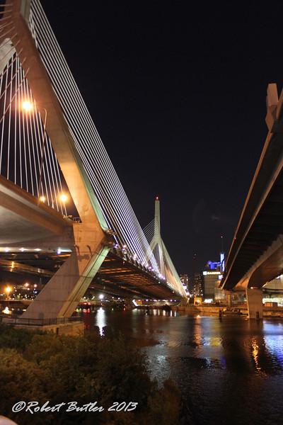 Bunker Hill-Zakim Bridge (L) and the Leverett Connector (R)