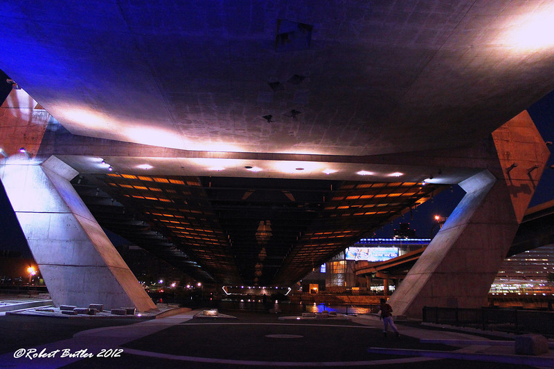 the Underside of the Bunker Hill-Zakim Bridge. The guy on the right is roller skating