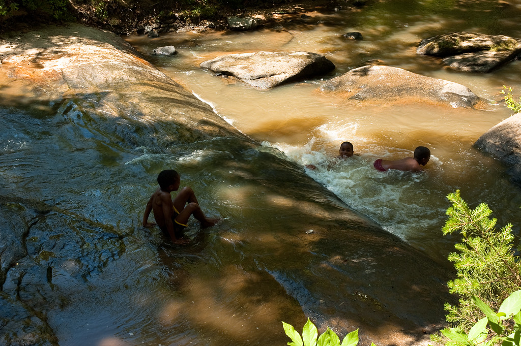 Playing in the rapids on the Chauga River.