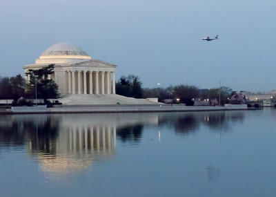 Another early morning view with a plane on the final approach to Reagan National Airport,