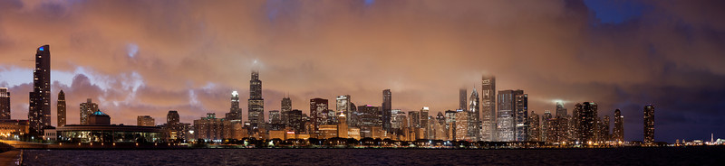 Panoramic photo of the downtown skyline as some interesting weather rolled through at dusk.  I originally planned to process this as an HDR, but after doing so decided it looked better as-shot.