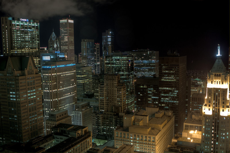 Downtown skyline as viewed from the sky lobby of 311 S. Wacker Dr.  This is a 3-shot HDR.