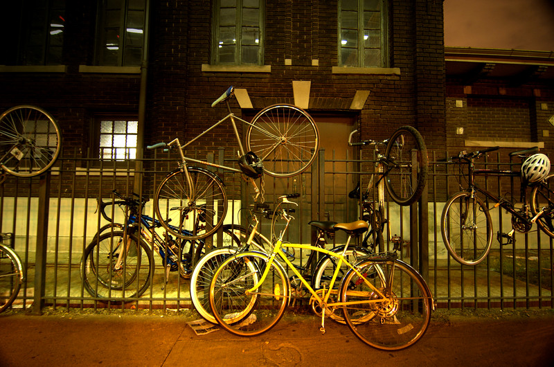 Bikes on a fence, Chicago. July.  Number 1.
