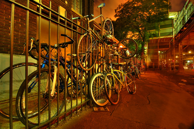 Bikes on a fence, Chicago. July.  Number 2