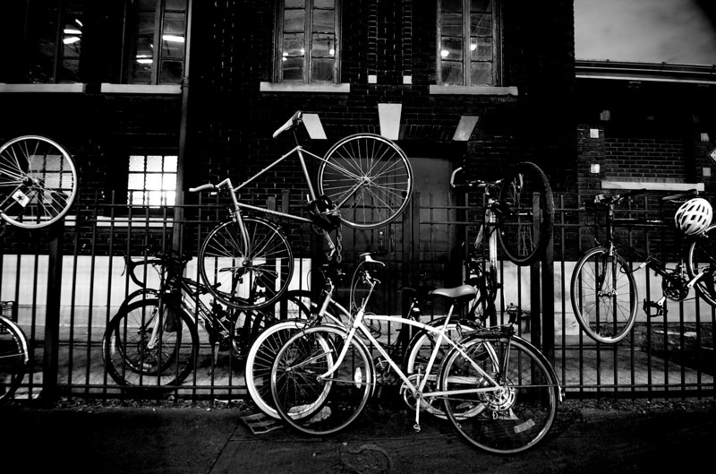 Bikes on a fence, Chicago. July.  Number 1 in Black and White.