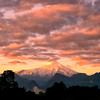 The sun sets behind Volcan Lanin