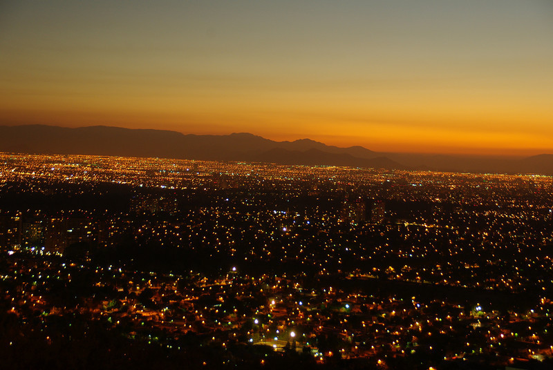 Santiago, the capital at Sunset