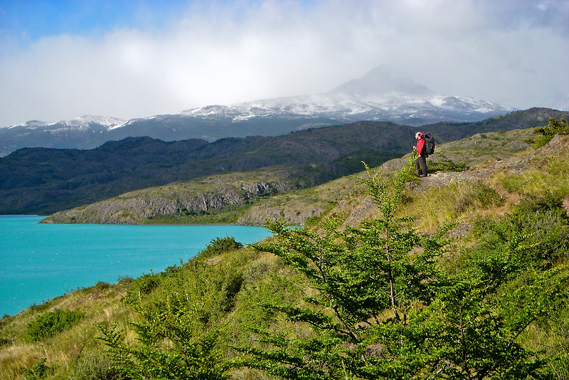 Checking out the marvelous turquoise of Lago Pehoe.