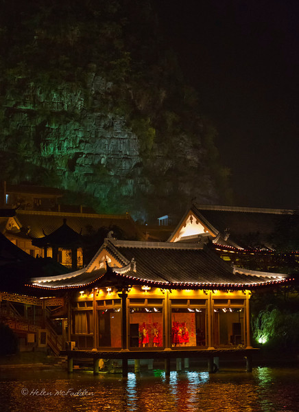 A pavilion in the centre of Guilin, from the evening river cruise