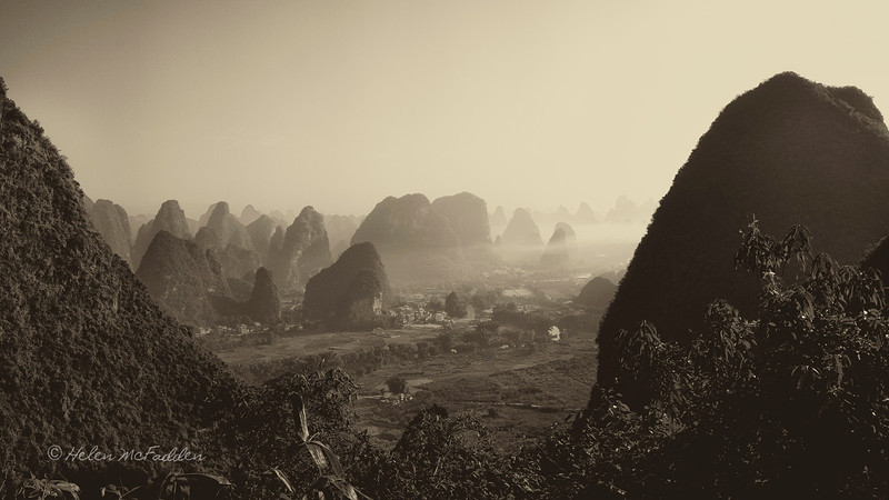 Limestone peaks around Yangshuo viewed from Moon Hill