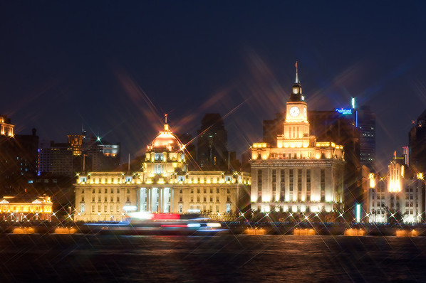 The Bund in Shanghai at night. Taken with Star filter.