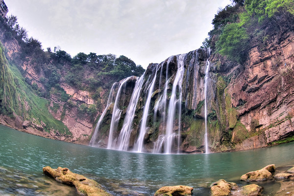 Huangguoshu waterfall in Guizhou with fisheye lens.