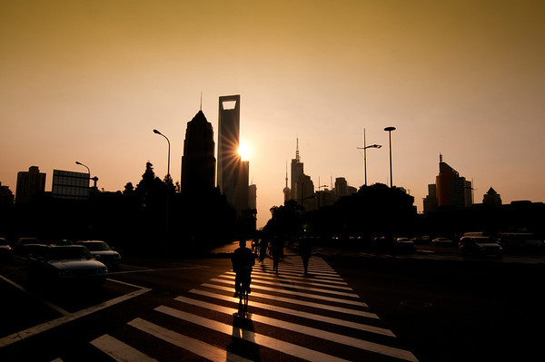 Sunset in Shanghai Business area.