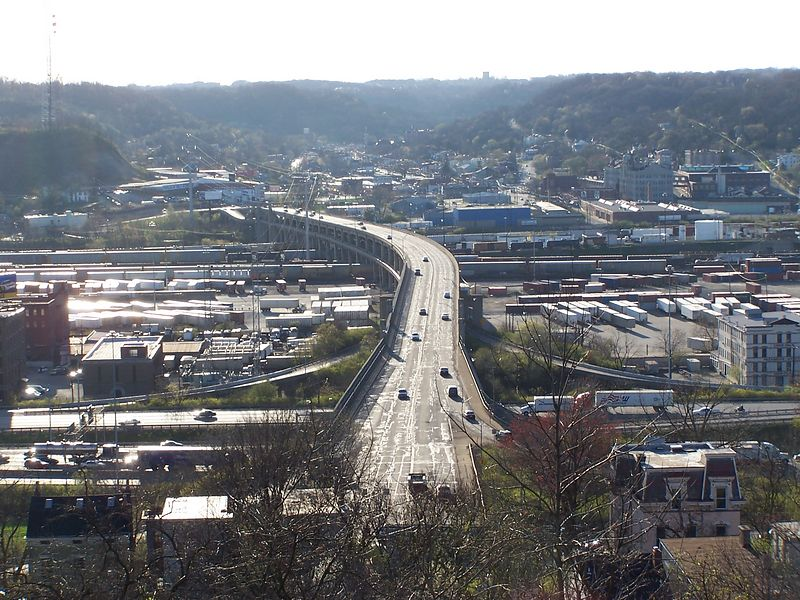 The Western Hills Viaduct, looking west from Fairview Park, as it crosses I-75, Spring Grove Ave, and the railroad yard.