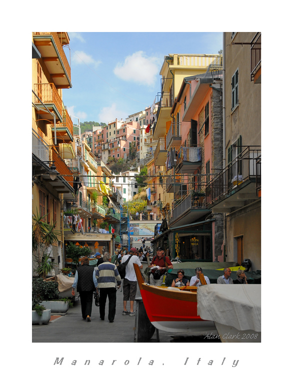 View up the main street, Manarola, Cinque Terre, Italy
