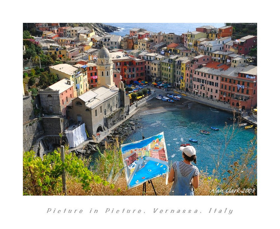 An artist's rendering of Vernazza from the Cinque Terre trail, approaching from Monterosso al Mare.