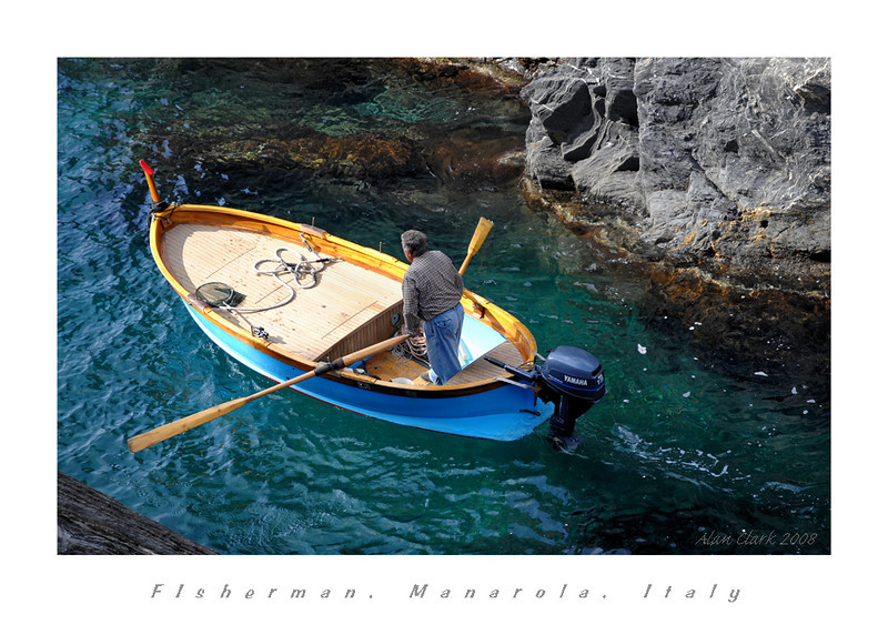 Fisherman heading out from Manarola, CInque Terre, Italy