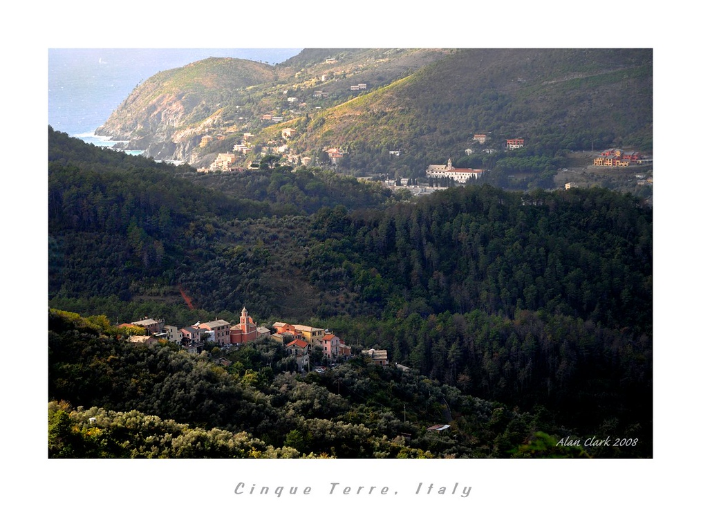 Cinque Terre, Italy as viewed from road to Monterossa al Mare