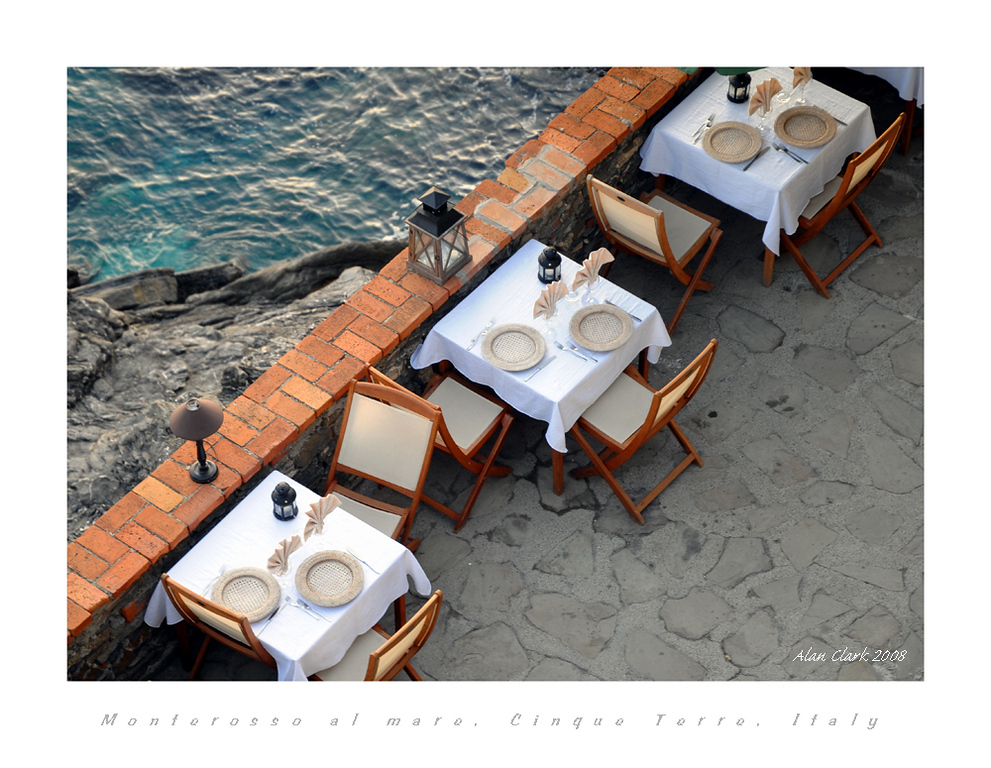 Seaside tables, Monterosso al Mare, Cinque Terre