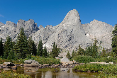 Pingora and the Cirque of the Towers, in the Wind River Mountains, Wyoming. Photo by Mike Reid, All Outdoor Photography.