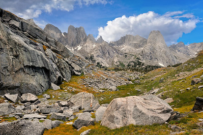 Cirque of the Towers, Wyoming. From the top of the climbers shortcut pass. Photo by Mike Reid.