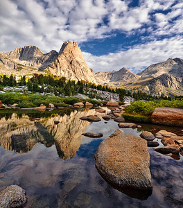 Pingora reflection. Cirque of the Towers landscape. Wind River Mountains, Wy. Photo by Mike Reid.