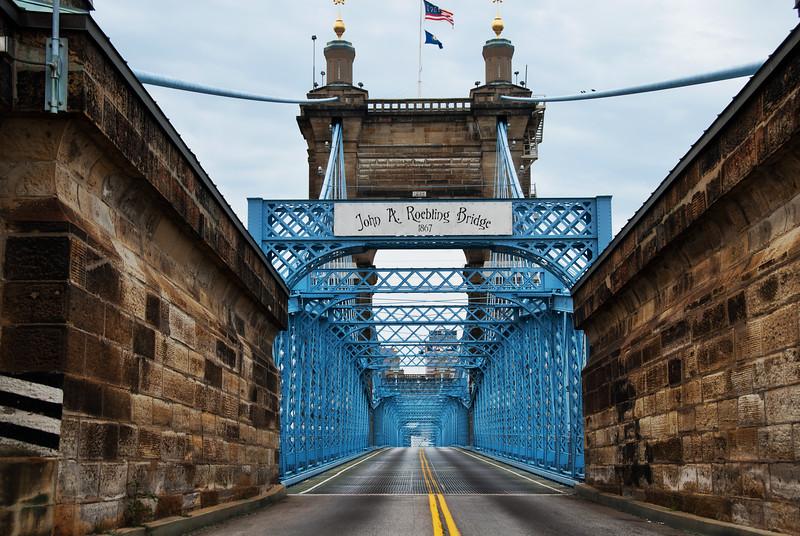 The Roebling Bridge from Covington, KY to Cincinnati, OH