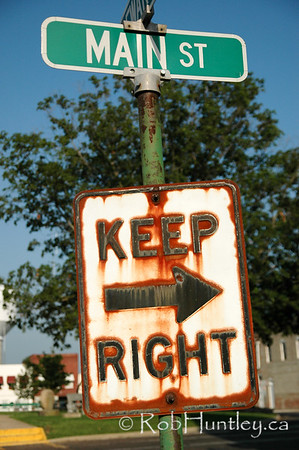 Keep Right. Rusty street sign.<br /> © Rob Huntley