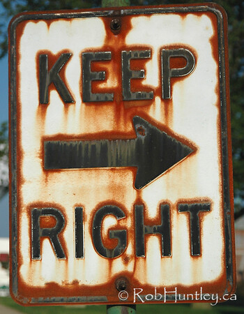 Keep Right. Rusty street sign.