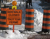 Sidewalk closed signs and pylons on Richmond Road in the community of Westboro in Ottawa, Ontario.<br /> <br /> © Rob Huntley