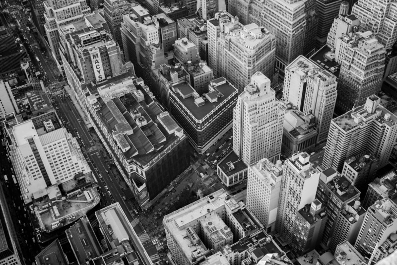 A view from the 86th floor observation deck of the Empire State Building in New York City.