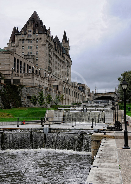 Canal locks next to the Chateau Laurier in Ottawa Canada