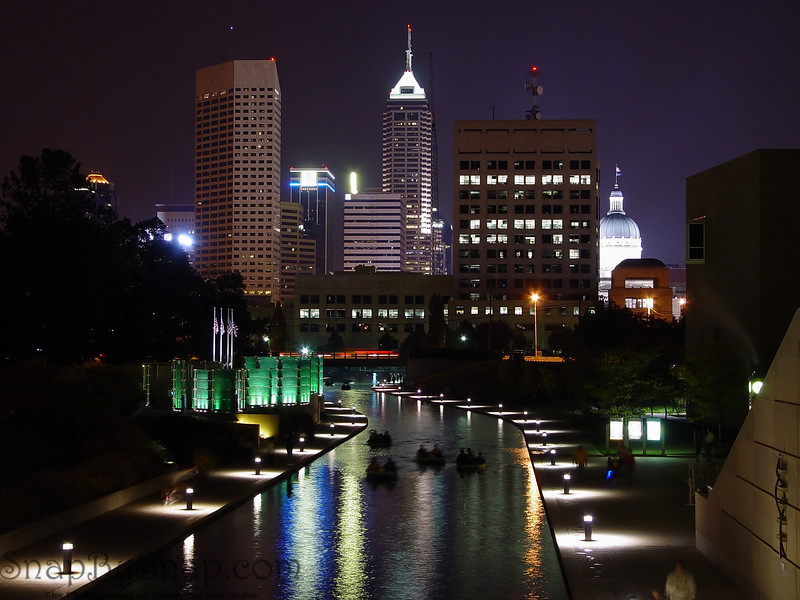 The central canal in Indianapolis is one of my favorite evening walks.  Here you can see the skyline, paddle boats, and the Medal of Honor Memorial.