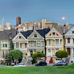7 Painted Ladies at Sunset in San Francisco, California
