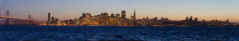 San Francisco Skyline Cityscape at Dusk from Treasure Island.  78 image gigapixel panorama.