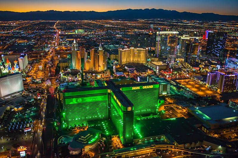 Aerial View of Las Vegas MGM at Dusk