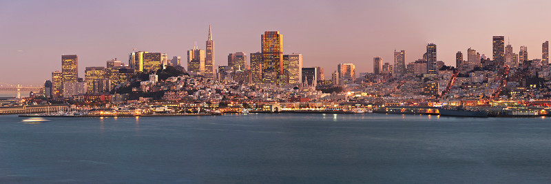 Partial View of San Francisco Skyline at Sunset.  Shot from Alcatraz. Left Half SF DSC_1487