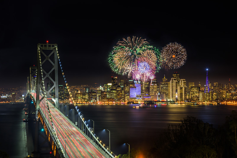 """Fireworks over San Francisco for Super Bowl 50"" Bay Bridge Angled"