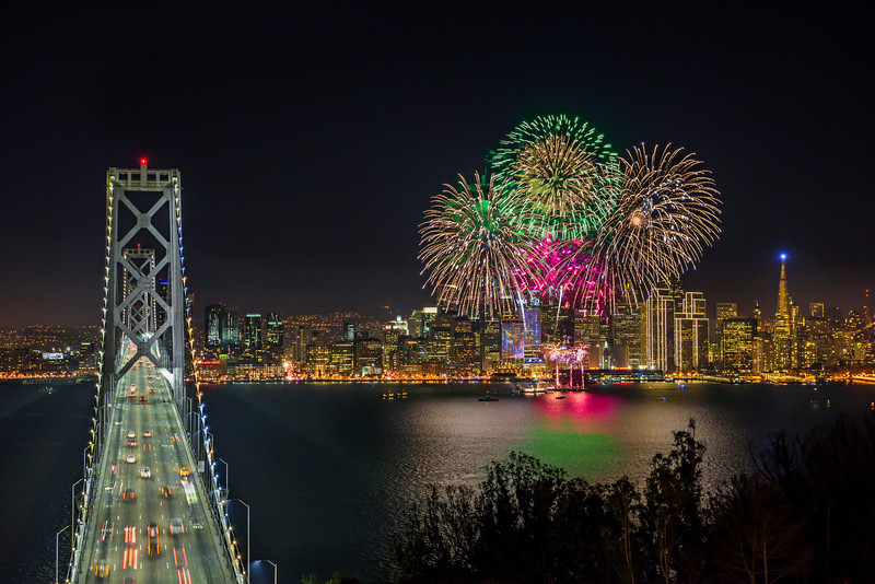 """Fireworks over San Francisco for Super Bowl 50"" Bay Bridge Straight-on"