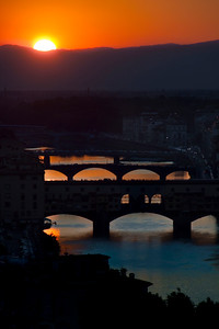 Sunset over the Arno River and the Ponte Vecchio, Florence, Italy 2010