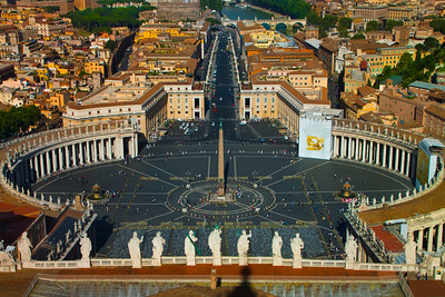 St. Peter's Square as seen from the Cupola of St. Peter's Basilica, Vatican City, Italy 2010