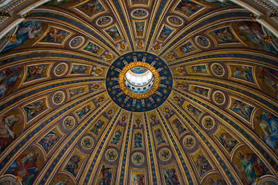 A close-up view of the dome of St. Peter's Basilica, Vatican City, Italy 2010